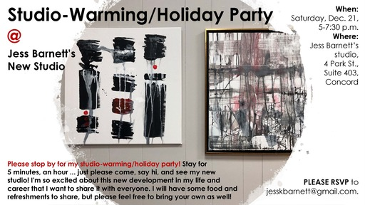 Studiowarming party at Jess Barnett039s studio Dec 21 from 5 to 730 pm
